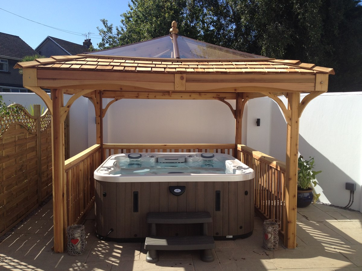 ebay private gazebo tub shelter and bar wood enclosed area hot pin wooden garden seating
